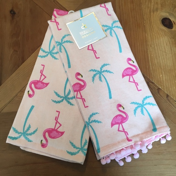Flamingo Palm Tree Kitchen Towels Beach Summer NWT